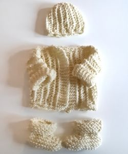 Cream Handmade Knit Newborn Set
